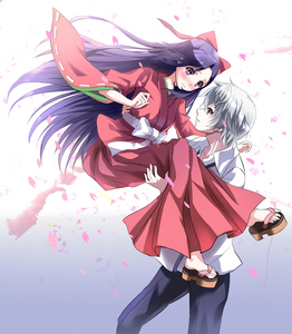 Akise Aru and Tsubaki Kasugano from Mirai Nikki. They actually were together in a spin-off manga(I haven't read it, though), but I shipped them in the anime anyways.