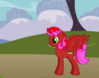 Name: Cakey Cake Age: 22 Personality: Sapient, caring, always there when her friends need help. pony fact: She once kissed Peppermint (Disneyfan333's unicorn OC.) Gender: Female Race: Alicorn