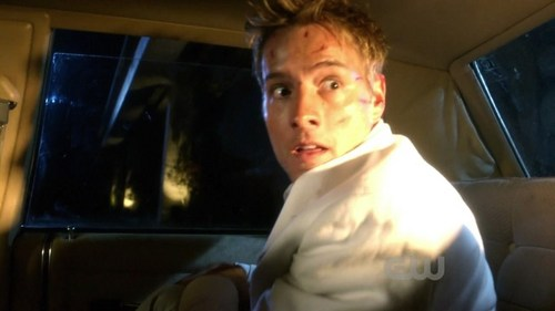 "Ollie in a very dramatic scene from ""Roulette"", where he's trapped in car and a train's heading towards him <3333"