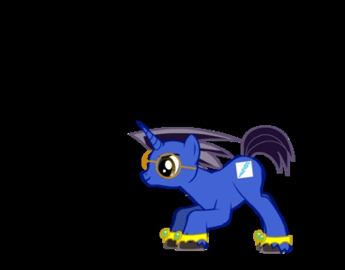 Blue Bolt, Unicorn, short and black, dark blue, single yellow bolt with light blue streak, Rarity's boutique (I'm artistic!) Draw, read, play games. He also enjoys competing with pelangi Dash (at video games, of course!)