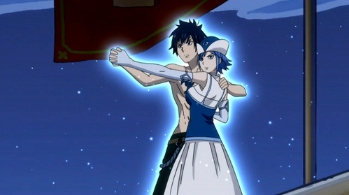 No, not right now. He doesn't completed love her but there have been some faint Gruvia moments. Since Lyon likes Juvia, Gray has been shown to be slightly jealous in some of the episodes. Like for example when Lyon scooped Juvia into his arms and told her 'I'm the one for you,' Gray kicked him away and carried Juvia away from him. Just gotta love it. Anyways Gray is fully aware of Juvia's feelings towards him, he just doesn't know how to respond to them. So we'll just have to wait a little longer to see if anything will happen between them!