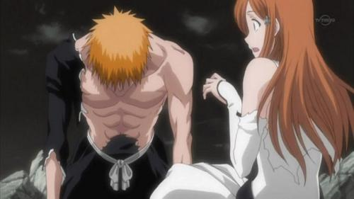 When Ichigo finally wakes up from been a hollow and than ask Orihime if she is okey and smiles at her