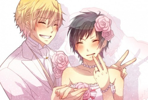 Izaya's in a wedding dress!! <3