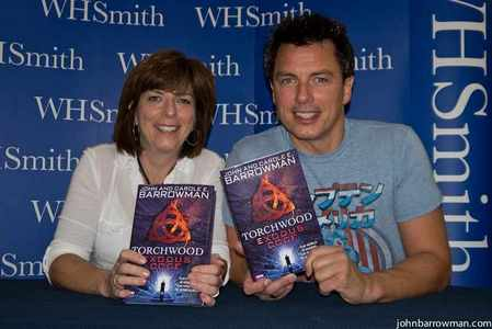 John Barrowman with his sister, Carole, which he wrote Torchwood Exodus Code with :)