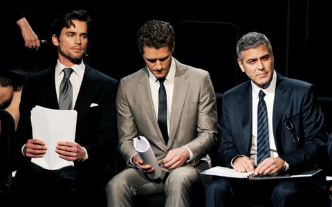 Matt Bomer with Matthew Morrison and George Clooney, their famous enough :)