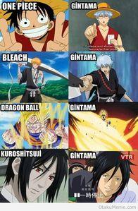 Gintoki Sakata from Gintama dressing up as: Luffy Ichigo Goku Sebastian