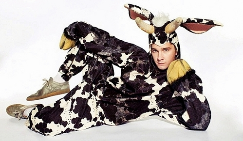 Shia LaBeouf model the Latest in Cow Couture :D