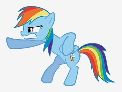 Rainbow Dash, baby! She's cute, but also can kick some butt!