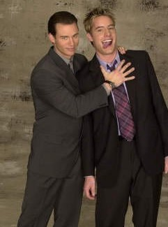 """Justin and Eric fooling around during a photoshoot for """"Passions"""" <3333"""
