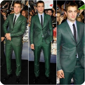 my gorgeous Robert always stands out,but he definitely stood out in this green suit at the BD 2 premiere in L.A.<3