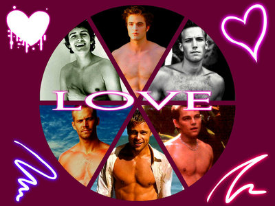 I have had a lot of crushes over the years,to name them all would take a while,but here are just a few of the actors I have crushed on: Brad Pitt,Ben Affleck,Leonardo DiCaprio,Orlando Bloom,Paul Walker and my current one of course,Robert Pattinson<3<3<3 (ty to Jessica,aka boytoy_84 for making this collage)