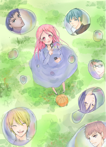 digital art>> fanart KNB..momoi + kiseki bubles i l'amour drawing momoi..