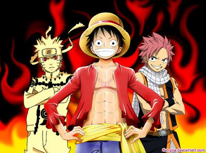 नारूटो (Naruto), Luffy (One Piece) and Natsu (Fairy Tail). Usually they act like idiots but in battles they're very smart :)