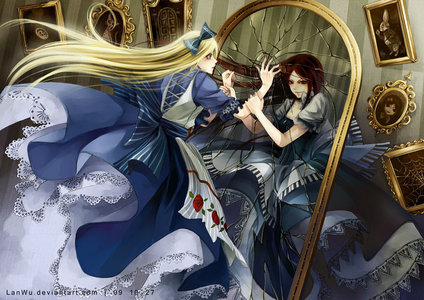 This is a drawing from Deviant art....a spinoff of Alice in wonderland, through the looking glass.