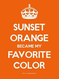 It changes all the time, but right now its Sunset Orange!