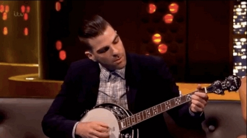 Zach Quinto playing the banjo. He's really good :)