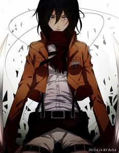 right now my 最喜爱的 female character is, Mikasa Ackerman - Shingeki no Kyojin