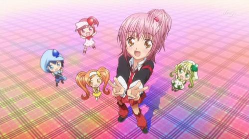 Shugo Chara. Its pretty easy to enjoy cutesy anime like this. When I saw a few episodes of Shugo Chara Party! though (with a live action children's segment), I was reminded that it was really meant for little kids.