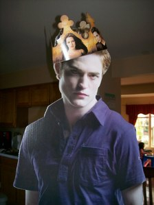 here is a cardboard cutout as Edward from Twilight with a Burger King crown on his head.Robert is the king of my heart...now and forever<3