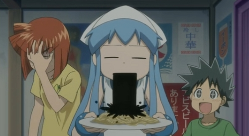i could do without a lot of the bodily fluids. rather not see saliva, urine, bloody noses, vomit, gore, etc. i could handle Squid Girl ink about half the time though, cause it was funny and black.