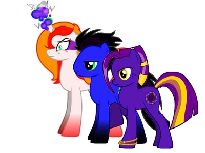 My main OC family: The white mare: Summer Pride, an elemental unicorn, she's the ancient Element of Fire,therefore she has pyrokinetic abilities. And she's crazy. The others are her children. The blue stallion: Nocturnal Mirage, her son, he can manipulate the earth because he has a little magic. He also has a sixth sense he was born with, it allows him to see through the eyes of any living thing within a small radius. The purple mare: Moonlight Lullaby, Mirage's younger sister. She has much lebih earth magic, than his her brother, she's the master of terra manipulation. I have two other OCs, one is a crystal pony warrior, named Deadlock and the other is a radio announcer, called cepat, swift Echo.