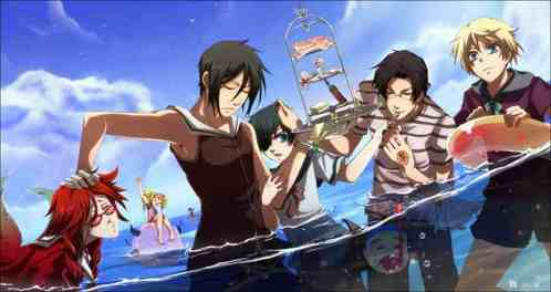 The main protagonists of Black Butler and Black Butler 2 at the spiaggia :3