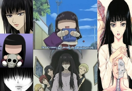 """Sunako Nakahara because she doesn't like to look at o be around """"Bright/dazzling creatures"""" (Aka good looking people)"""