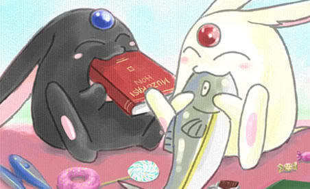 Mokona. Adds Puu~ to the end of everything :P
