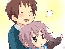 Yuki Nagato (alien) and Kyon (human) from The Melancholy of Haruhi Suzumiya!!