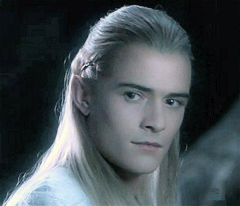 Orlando Bloom in LOTR with white/grey hair(actually it's a blonde wig,but in the light it looks white/greyish)