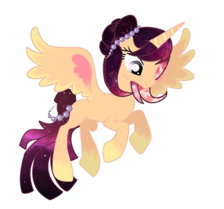 Name: Stellar wolke Type: Natural Alicorn (born as an Alicorn) Magic: dark dark purple Cutie mark: A galaxy Mane: A mix of purples whites reds and pinks Works: Helps Twilight at the library, also teaching her about what it's like to be a princess. BFF: Derpy Hooves! Perso: kind, shy around new people, speaks her soul, loves to sing, and can be daring at times. Background info: She is a Princess from a distant land, but she did not like her fancy life style, so she vanishes from her kingdom without a trace, and she finds a calm relaxing place called pony-vill. Could it be destiny for her to live her life here, oder will her parents find her and drag her away to a life with a kingdom resting on her shoulders?