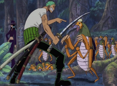 Zoro-kun (on the left with green hair and the swords) from One Piece but he has a number of swords :p