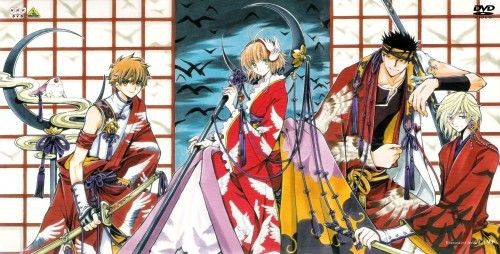 "((Tsubasa Chronicles. They had a vague similarity. They all have to travel between dimensions. But all eventually became close friends. It is a great manga series, and the main protagonists are Sakura and Syaoran, though they aren't the same characters te think they are.c; The Anime was also good, I recommend the sub. The dub was good, but they kinda fixed alot of Kurogane's (the one with black hair) script to make it più ""kid-friendly"" I guess. He says ""heck"" and ""dumb"" rather than ""hell"" and ""damn"". Super minor detail, it just bothered me a bit. xD))"