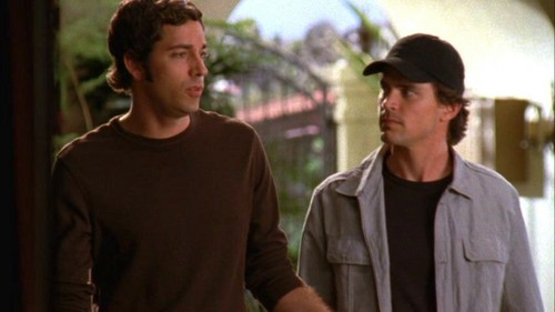 Matt Bomer with Zachary Levi in a scene from Chuck and i will allow anda to decide who is hot and who is cute :)