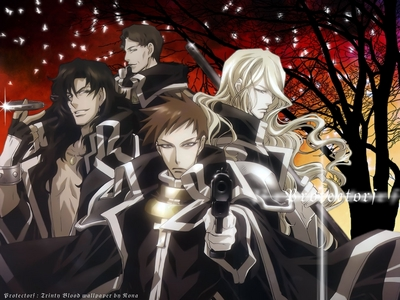 The AX members from Trinity Blood in their AX uniforms. Minius Able Nightroad :(!
