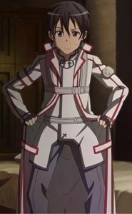 Kirito in a guild uniform! :P