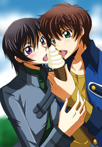 Lelouch and Suzaku sharing a cone <3