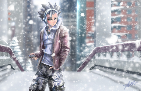Toshiro Hitsugaya (Bleach) wearing headphone......h ehe hehe