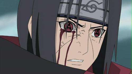Itachi Uchiha (Naruto Shippuden) Itachi has the unusual deadly eyes known as Mangakyo Sharingan.....h eh eh ehe