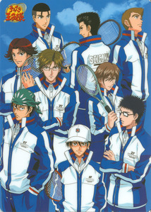 The Seigaku Regulars in their 网球 regulars uniform...