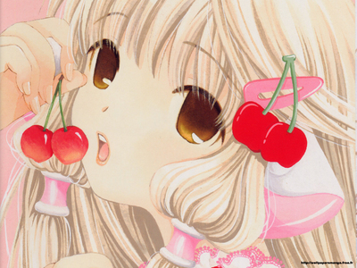 Chii eating a cherry.