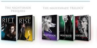 A really good one is Nightshade, Wolfsbane, and BloodRose. In that order, sa pamamagitan ng Andrea Cremer. It's a pag-ibig triange between three guardians, Calla, Shay, and Ren. It is set in the present day. There are also the Prequels Rift and Rise, which also has a pag-ibig triange between three Conatus knights, Ember Morrow, Barrow Hess, and Alistair. I read the prequels first (on accident.) But whichever ones you read first doesn't matter, I think you'd really like them. Especially since you've read Vampire Academy.