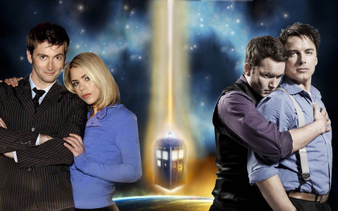 Doctor,Rose,Ianto and Captain Jack Harkness<3