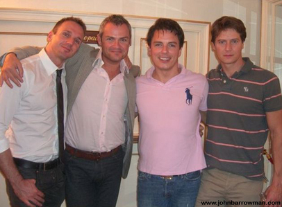 John Barrowman with his manager and his partner and Scott Gill<3