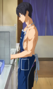 Haruka from Free cooking... with an 围裙 over his swimwear -__- Lmao xD