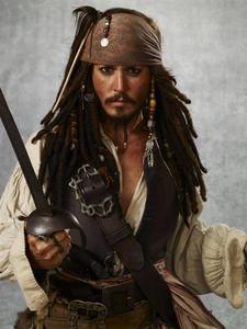 Johnny Depp dressed up as Jack Sparrow