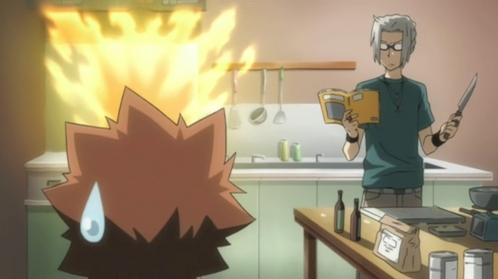 Gokudera about to cook. (Katekyo Hitman Reborn)