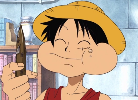 Luffy from One Piece has mark/scar on his face.