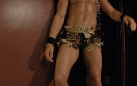 here is a scene from Magic Mike with one of its stars with money stuffed in their underwear(I don't know which actor it is...sorry)<3