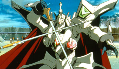 Escaflowne. Gotta love a mech with a cape and sword, not to mention one that turns into a dragon and powered سے طرف کی a dragons heart.